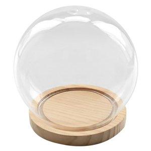 Decorative Glass Bell with Wooden Floor, Transparent Glass Container Micro-Landscape Garden DIY Terrarium Container Decoration