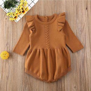 Ragazza neonato ragazzo Outfits Knit manica lunga O-collo Solid Ruffle pagliaccetto tuta invernale autunno caldo di moda vestiti nuovi