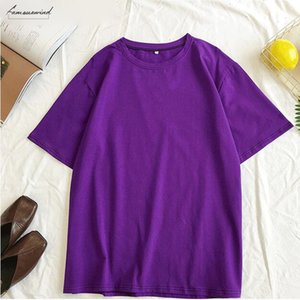 2020 Spring Summer Oversize Womens Candy T Shirt Handsome Streetwear Perfect Basics Tops Render Unlined Upper Garment