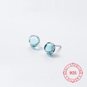 베젤 보석 귀걸이 100 % 순수 925 스털링 실버 광저우 형상 블루 라운드 크리스탈 스터드 귀걸이 숙녀 패션 쥬얼리
