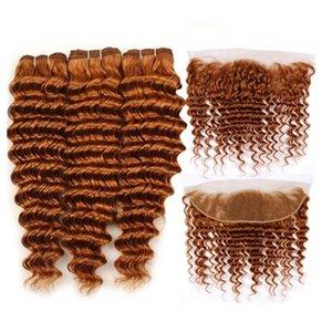 Auburn # 30 Colored profonda dei capelli dell'onda di Remy umani del tessuto bundle con pizzo frontale chiusura 13x4 spedizione gratuita