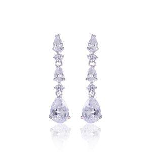 Moda Luxury White CZ Crystal Water Drop Orecchini lunghi Gioielli da sposa Orecchini da sposa Non trafitto Ear Clip Cuff