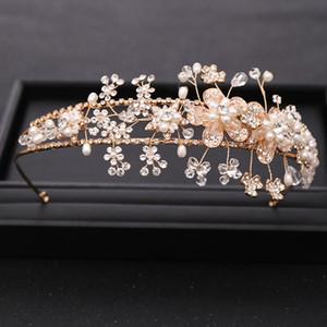 Silver color Pearl Crystal Flower Crown Hairband for Wedding tiara Handmade Bridal Headpiece Jewelry Wedding Hair Accessories