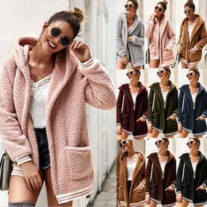 дорогие женщины дизайнер кардиганы свитера кардиганы пальто зимы плюша с капюшоном балахон пальто теплый свитер Открытый женская одежда Верхняя одежда Жакеты