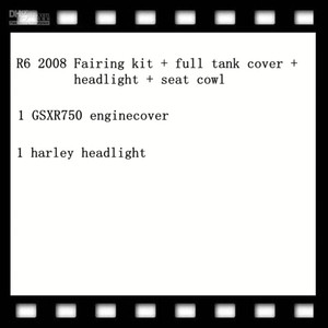 1 Set R6'nın 2008'de Fairing kiti + tam depo kapağı + far + koltuk far, 1 adet gsxr750 enginecover, 1 adet far harley