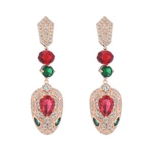 Розовое золото серьги для женщин бренд дизайн роскошные цирконий свадебные украшения женская змея уха шпильки горячей продажи