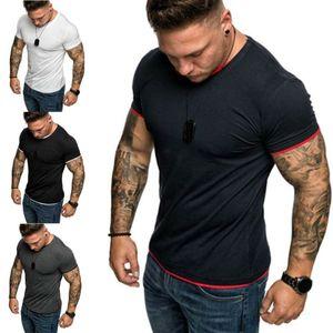 Neue Männer O Ansatz Oberseiten-T-Shirt Slim Fit Short Sleeve Solid Color Lässige Wandern T-Shirts