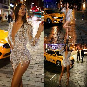Manica lunga 2020 abiti da cocktail sexy corto profondo scollo a V di cristallo perline Prom Dress See Through sexy mini abiti di sera