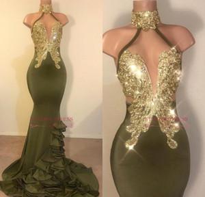 Sereia reflexiva Olive Green Prom Vestidos Halter Neck Apliques de Ouro Sem Encosto Stretchy Cetim Ruffled Evening Vestidos Custom Made Vestido de Festa