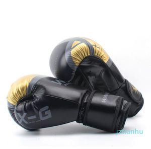 Adulti Donne Uomini Boxe Guanti di pelle MMA Muay Thai Boxe De Luva guanti mezzi Sanda Equipments 8 10 12 6OZ spedizione gratuita