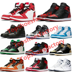 Nike Air Jordan 1 Basketball Shoes Running Shoes de basket-ball Spiderman UNC Hommes Hommage à Home Royal Bleu Hommes Sport Designer Chaussures de sport 36-46