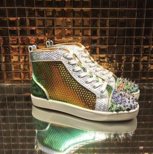 New Season NO Limit Pik Spiked Red Bottom Sneakers Men Shoes,Womens Red Soles Design +Studs Rhinestone Strass Trainers Luxury Fashion Shoes