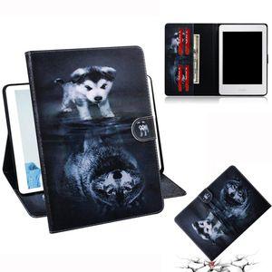Волк и собака шаблон горизонтальный флип кожаный чехол для Amazon Kindle Paperwhite 4 / 3 / 2 / 1, с держателем слота для карт бумажник
