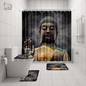 دش NYAA 4 قطع بوذا الكبير الوجه واليد الستار الركيزة البساط غطاء غطاء المرحاض حصيرة حمام حصيرة مجموعة لديكور الحمام