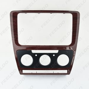 Mahogany Car Radio Stereo 2DIN Fascia Panel Refitting Frame Facia Trim Install Mount Kit For Skoda Octavia(10~13) Auto Manual A C#3757