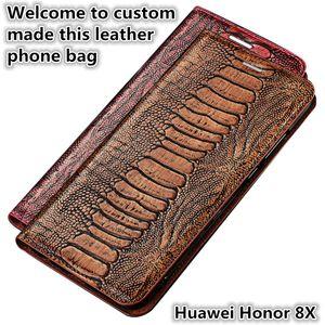 QX15 Ostrich Foot Pattern Gneuine Custodia in pelle a conchiglia per Huawei Honor 8X Custodia a magnete con cavalletto Huawei Honor 8X Custodia in pelle