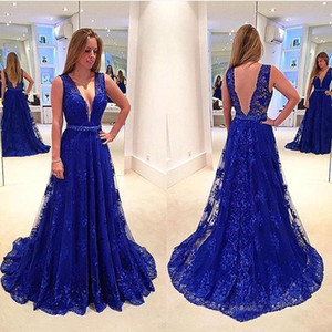 A 라인 댄스 파티 드레스 로얄 블루 전체 레이스 댄스 파티 드레스 섹시한 등이없는 플러깅 피에스타 이브닝 가운 로브 드 야회 파티 드레스