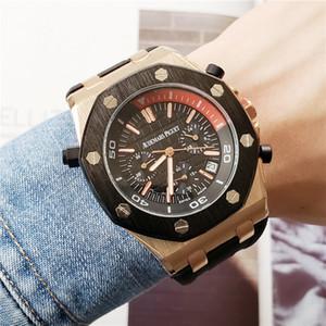Neue Art und Weise Luxus Herrenuhren Unter Dials Arbeit Audemars P-Silikon-Bügel Schweizer Uhren Multifunktions-Kalender-Uhren Montres gießen hommes