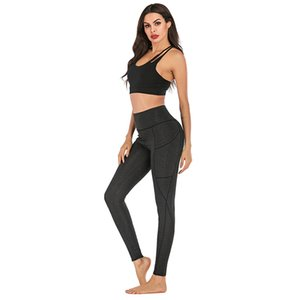 Women's solid color polyester spandex stretch yoga pants running fitness sports yoga leggings with side mobile phone pocket
