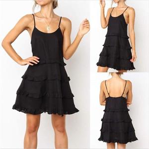 Donne Abiti Le donne camicia da notte di moda femminile vestiti estate della cinghia di spaghetti Dress Ruffle progettista U Neck