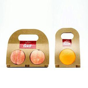 Kraft Paper Fruit Holder Desechable Apple Orange Peach Handle Holders Para llevar solo doble regalo de fruta QW9209