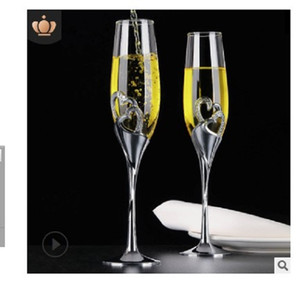 2020 hot sale Creative crystal heart-shaped Champagne Cup bubble suit wedding gift delivery glass glass glass wine goblet