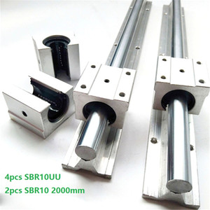 2pcs SBR10 2000mm support rail linear rail guide + 4pcs SBR10UU linear bearing blocks for CNC router parts