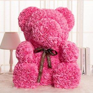 40CM innovador Rose romántica Oso Cub siempre artificiales de Rose Aniversario Regalo de San Valentín de Navidad con luces de cadena