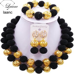 Laanc Fashion Simulated Pearl Black African Wedding Beads Nigerian Wedding Jewelry Sets 2CSZ008 V191128