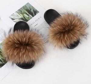 2019 Scarpe Fur pantofole diapositive reale Fox capelli Furry Fuffly Slipper Infradito Sandali trascinate i cursori sandalo donne di estate 112