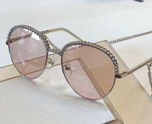 4242 redonda óculos de sol de prata colar de vidros de sol Mulheres Sunglasses Shades New com caixa