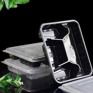 Контейнеры для приготовления пищи одноразовые 4 отсека с крышками, хранение пищевых продуктов Bento Box BPA Free Stackable Lunch Boxes, микроволновая печь / посудомоечная машина