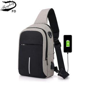 FengDong petit usb charger un sac à bandoulière hommes messenger sacs hommes imperméable sling poitrine sac 2018 nouveau sac à dos cross body sacs