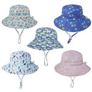 Baby Sun Cap Cute Cartoon Protective Cap Summer Beach Floppy Bucket Hat for Infants Kids Boys Girls