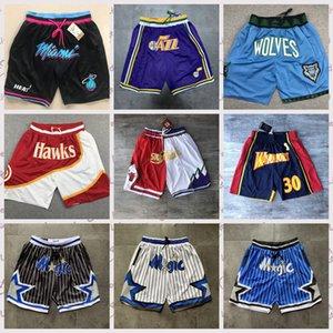 Juste Don Short Pocket authentique Cousu hommes Sweatpants Retro hommesnba All City Nom de l'équipe de basket-ball Throwback Jersey Shorts