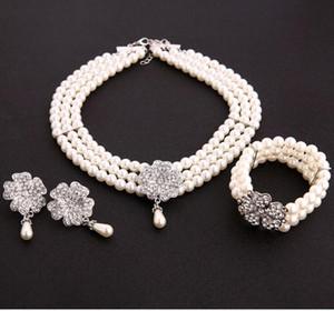 Braut Hochzeit Schmuck Set Damen Accessoires Perlenkette Retro 2Pearl Halskette Art Deco Plate Accessoires Damen Accessoires Fas