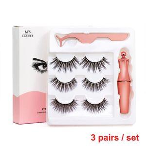 Premium-Magnetic Eyeliner mit 3D Magnetic Wimpern Natürliche Voll Augen 5 Magnet Wimpern Falsche Wimpern Wiederverwendbare Gefälschte Eye Lashes mit Tweezer
