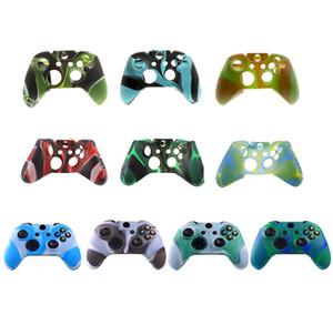 Pour le contrôleur de Xbox One S / x Cas de silicone souple Cas de silicone confortable Gamepad Impression cutanée Caoutchouc Housse 10 couleurs Livraison gratuite