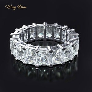 Wong Rain 100% 925 Sterling Silver Created Moissanite Gemstone Wedding Engagement Cocktail Women Ring Fine Jewelry Wholesale V191202