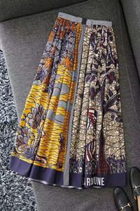 Primavera e verão 2020 de cintura alta algodão puro contraste de cor montanha animal da floresta das mulheres posicionando impressão de alta dividir balanço grande longos s