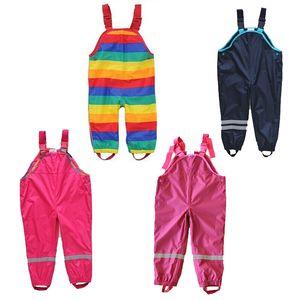 Boys and girls suspenders beach children rain waterproof ski windproof bib pants Y200704