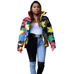 Jaycosin Kış Trend Kadınlar Sıcak Casual Parlak Yüz Kamuflaj Baskılı Boyalı Coat Moda Rahat Kadın Pamuk Coat 1122 4.
