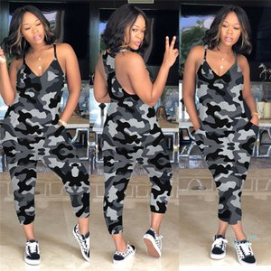 Ins Women V Neck Overalls Spaghetti Strap Romper Pants Wide Legs One Piece Tank Jumpsuit Loose Pants Tie Dye Sleeveless Playsuit S-3XL C5903
