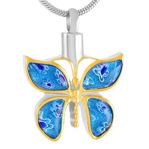 Nuevo z5266 azul hermoso cristal de Murano mariposa cremación joyería para mascotas cenizas-Engravable Acero inoxidable Memorial urna collar