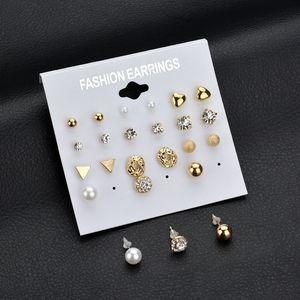 لؤلؤة الأقراط 12Pair / Set Multipal الشكل القرط استيلاد الذهبي الخواتم الفضية مجموعة القرط هدية مجموعة مصمم uxury