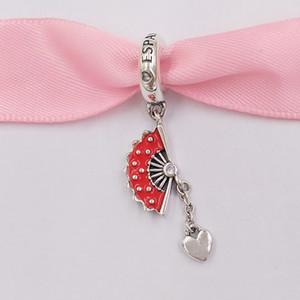 Authentique Argent 925 Perles espagnole Fan Dangle Charm Charms bijoux européens Fits Pandora style Bracelets Collier 797879EN09
