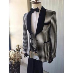 Gut aussehend Jacquard-Bräutigam-Smoking (Jacket + Tie + Vest + Pants) Herren Anzüge nach Maß formale Klage für Männer Hochzeit Bestmen Smokings TG110