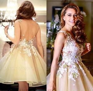 2019 Ouro Organza Doce Homecoming Vestidos de Apliques Florais Meninas Curto Prom Party Vestido de Cocktail Vestidos Mini Saia