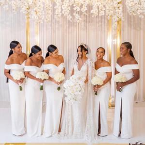 African africano una linea abiti da damigella d'onore per matrimoni vestito ospite fuori spalla lungo satin laterale in raso diviso abiti da partito abito da festa formale