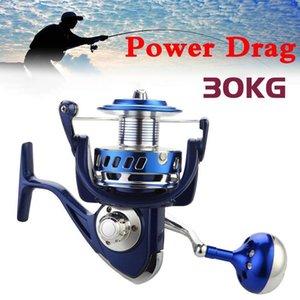 Arrastre 30 kg de energía todo el metal bobinas de hilado 6000 7000 8000 9000 10000 Pesca Pesado Mar Barco Jigging Pesca carrete de la pesca